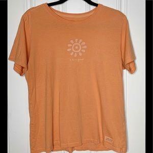 Life Is Good Womens Orange Shirt Size Medium